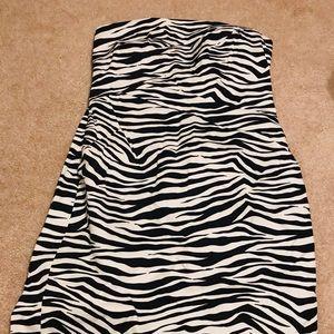 Michael Kors Size 10 Strapless Black/White Dress